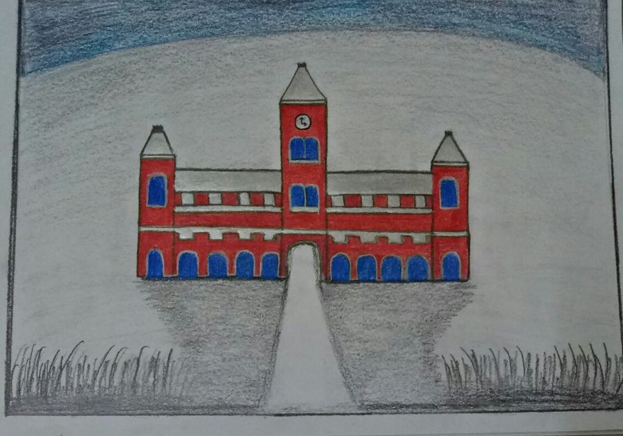 chennai city central railway station , 8 x 11 inch, pamela rebecca vincent,drawings,fine art drawings,modern drawings,street art,paintings for dining room,paintings for living room,paintings for bedroom,paintings for office,paintings for bathroom,paintings for kids room,paintings for hotel,paintings for kitchen,paintings for school,paintings for hospital,thick paper,pen color,pencil color,graphite pencil,8x11inch,GAL0661316373