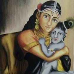 love of baal krishna , 18 x 24 inch, swapnil  asthana ,religious paintings,radha krishna paintings,paintings for living room,canvas,oil,18x24inch,GAL0704616377,babykrishna,lordkrishna,krishna mother,mother,flute,love