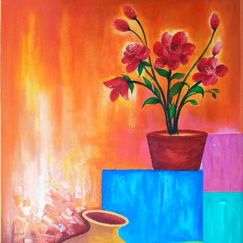flowers, 21 x 37 inch, a.b.  kaser,flower paintings,paintings for living room,canvas,acrylic color,21x37inch,GAL06361638