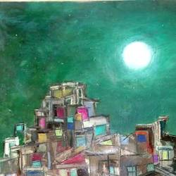 moon over city, 28 x 22 inch, ravi bedi,paintings,modern art paintings,paintings for dining room,paintings for living room,paintings for bedroom,paintings for office,paintings for bathroom,paintings for hotel,paintings for kitchen,paintings for school,paintings for hospital,thick paper,oil,28x22inch,GAL0715716385