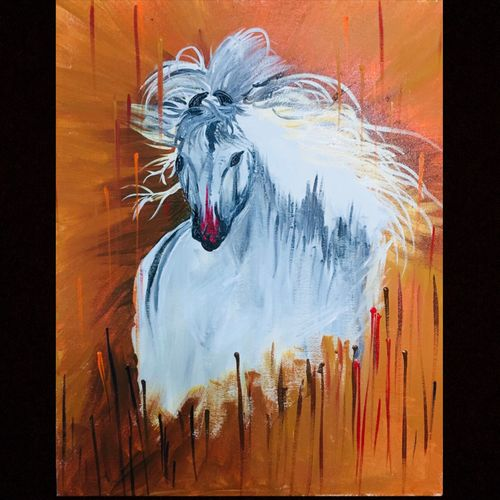 magestic horse , 16 x 20 inch, rishabh  desai ,paintings,abstract paintings,wildlife paintings,animal paintings,horse paintings,paintings for dining room,paintings for living room,paintings for bedroom,paintings for office,paintings for kids room,paintings for hotel,paintings for kitchen,paintings for school,paintings for hospital,canvas,acrylic color,oil,16x20inch,GAL0715616395