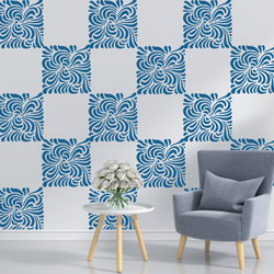 wall stencil: square design wall stencil, 1 stencil (size 12x12 inches) | reusable | diy, 12 x 12 inch, wall stencil designs,12x12inch,ohp plastic sheets,flower designs,plastic,GAL0116416,GAL0116416