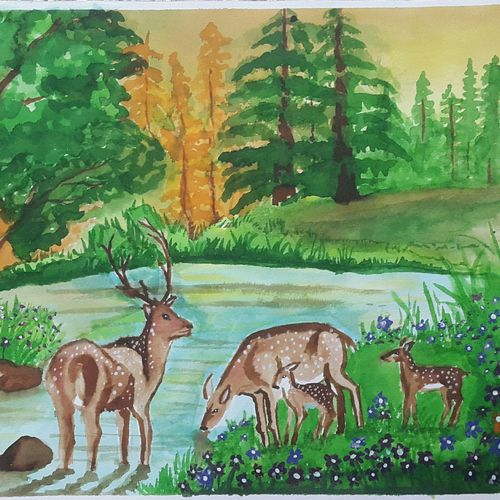 deers in forest, 12 x 8 inch, arunkumar b,paintings,wildlife paintings,landscape paintings,nature paintings,paintings for living room,paintings for bedroom,paintings for hotel,paintings for school,canson paper,watercolor,12x8inch,GAL0724516442Nature,environment,Beauty,scenery,greenery