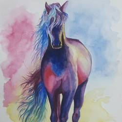 horse painting, 8 x 12 inch, arunkumar b,paintings,horse paintings,paintings for living room,paintings for bedroom,paintings for office,canson paper,watercolor,8x12inch,GAL0724516443