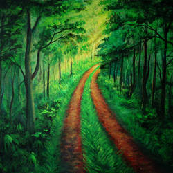 lighted path, 24 x 15 inch, dipu jose,paintings,landscape paintings,paintings for dining room,paintings for living room,paintings for bedroom,paintings for dining room,paintings for living room,paintings for bedroom,canvas,acrylic color,24x15inch,GAL0727216449