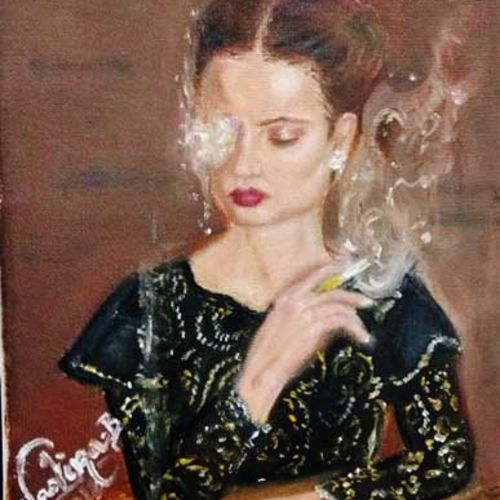 the wisdom of smokes, 8 x 11 inch, nadira behlim,paintings,figurative paintings,portrait paintings,realism paintings,paintings for living room,paintings for bedroom,paintings for office,paintings for hotel,canvas,oil,8x11inch,GAL0743816451