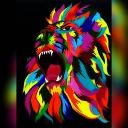 roaring lion, 9 x 12 inch, aishwarya  jv,paintings,wildlife paintings,modern art paintings,animal paintings,paintings for kids room,paintings for school,paintings for kids room,paintings for school,canvas,acrylic color,9x12inch,GAL0546916457