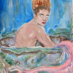 merman, 11 x 16 inch, nadira behlim,paintings,modern art paintings,surrealist paintings,paintings for dining room,paintings for living room,paintings for bedroom,paintings for office,paintings for bathroom,paintings for hotel,paper,oil,11x16inch,GAL0743816460