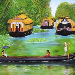 beautiful kerala houseboats , 29 x 21 inch, rijoy  emmanuel,paintings,landscape paintings,nature paintings,paintings for living room,paintings for office,paintings for kids room,canvas,oil,29x21inch,GAL0643116462Nature,environment,Beauty,scenery,greenery