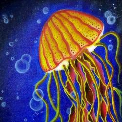 jelly fish, 9 x 12 inch, aishwarya  jv,paintings,landscape paintings,nature paintings,paintings for living room,paintings for office,paintings for hotel,paintings for school,canvas,acrylic color,9x12inch,GAL0546916464Nature,environment,Beauty,scenery,greenery