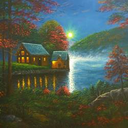 the moonlit lakeside dreams, 12 x 16 inch, niraj pradhan,paintings,landscape paintings,nature paintings,realistic paintings,paintings for living room,paintings for bedroom,paintings for office,paintings for hotel,paintings for living room,paintings for bedroom,paintings for office,paintings for hotel,canvas,acrylic color,12x16inch,GAL049216465Nature,environment,Beauty,scenery,greenery