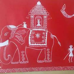 royal elephant , 9 x 12 inch, manisha  sharma ,drawings,paintings for living room,paintings for bedroom,paintings for office,paintings for hotel,folk drawings,paintings for living room,paintings for bedroom,paintings for office,paintings for hotel,drawing paper,acrylic color,9x12inch,GAL0739116468