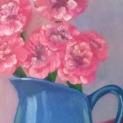 still life with pink carnations and blue vase, 10 x 12 inch, dipali deshpande,paintings,flower paintings,still life paintings,impressionist paintings,realistic paintings,paintings for dining room,paintings for living room,paintings for bedroom,paintings for office,paintings for hotel,paintings for kitchen,paintings for school,paintings for hospital,canvas,oil,10x12inch,GAL016316475