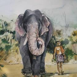 elephant and his ........, 10 x 12 inch, rajesh v v,paintings,still life paintings,drawing paper,watercolor,10x12inch,GAL0745916478