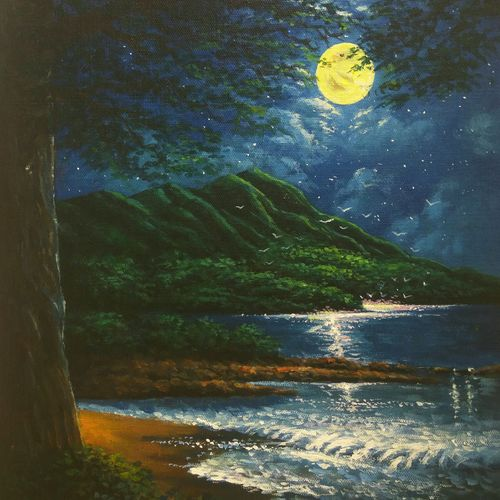 the mystical moonlight, 16 x 12 inch, niraj pradhan,paintings,landscape paintings,nature paintings,realism paintings,realistic paintings,paintings for dining room,paintings for living room,paintings for bedroom,paintings for office,paintings for hotel,canvas board,acrylic color,16x12inch,GAL049216481Nature,environment,Beauty,scenery,greenery