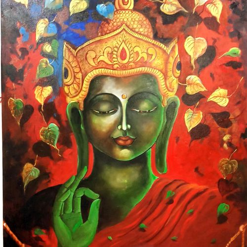 buddha and monk 7, 33 x 60 inch, arjun das,paintings,buddha paintings,canvas,acrylic color,33x60inch,peace,meditation,meditating,gautam,goutam,red,leafs,blessing,religious,GAL011216488,peace,lordbuddha,inner,lordface,leaves,gautaum,green