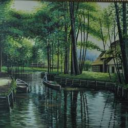 riverside of life, 44 x 55 inch, dls  art gallery,paintings,wildlife paintings,figurative paintings,landscape paintings,still life paintings,art deco paintings,realistic paintings,paintings for dining room,paintings for living room,paintings for bedroom,paintings for office,paintings for bathroom,paintings for kids room,paintings for hotel,paintings for kitchen,paintings for hospital,canvas,acrylic color,44x55inch,GAL0692616491,riverside,river,houses,water,water,trees,jungle
