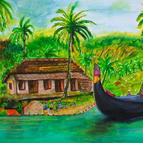 kerala fishermans , 17 x 12 inch, rijoy  emmanuel,paintings,landscape paintings,nature paintings,paintings for dining room,paintings for living room,paintings for office,paper,watercolor,17x12inch,GAL0643116492Nature,environment,Beauty,scenery,greenery