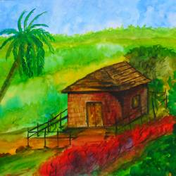 magical house , 17 x 12 inch, rijoy  emmanuel,paintings,landscape paintings,nature paintings,paintings for living room,paintings for bedroom,paintings for office,paper,watercolor,17x12inch,GAL0643116494Nature,environment,Beauty,scenery,greenery