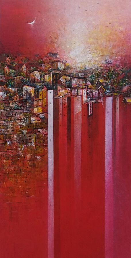 across the city, 24 x 48 inch, m. singh,paintings,abstract paintings,cityscape paintings,modern art paintings,paintings for dining room,paintings for living room,paintings for bedroom,paintings for office,paintings for kids room,paintings for hotel,paintings for school,paintings for hospital,canvas,acrylic color,24x48inch,GAL0537716496