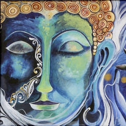nirvana- gautam buddha, 19 x 22 inch, amrita das,buddha paintings,paintings for office,paintings for living room,canvas,acrylic color,19x22inch,religious,peace,meditation,meditating,gautam,goutam,buddha,lord,blue,GAL050165