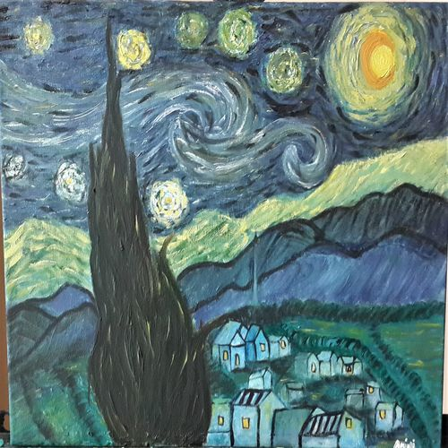 starrynight van gogh, 16 x 12 inch, anjali p,paintings,abstract paintings,modern art paintings,paintings for dining room,paintings for living room,paintings for bedroom,paintings for office,paintings for kids room,paintings for hotel,paintings for kitchen,canvas board,oil,16x12inch,GAL0525216506