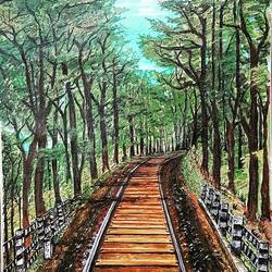 jungle tracks, 18 x 24 inch, sanmati balaji,landscape paintings,paintings for dining room,paintings for living room,paintings for office,paintings for hotel,paintings for school,paintings for hospital,canvas,acrylic color,18x24inch,GAL0245816509