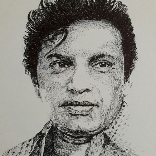 uttamkumar pen drawing, 11 x 16 inch, santanu sen,drawings,portrait drawings,paintings for dining room,paintings for living room,thick paper,ball point pen,11x16inch,GAL0193916511