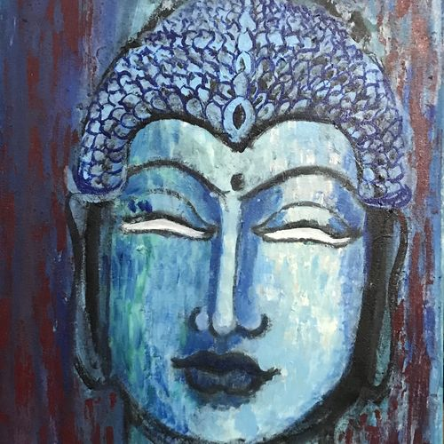 buddha , 16 x 24 inch, pratima  singh ,paintings,buddha paintings,paintings for dining room,paintings for living room,paintings for office,paintings for kids room,paintings for hotel,paintings for hospital,canvas,acrylic color,16x24inch,religious,peace,meditation,meditating,gautam,goutam,buddha,blue,face,GAL0228916516