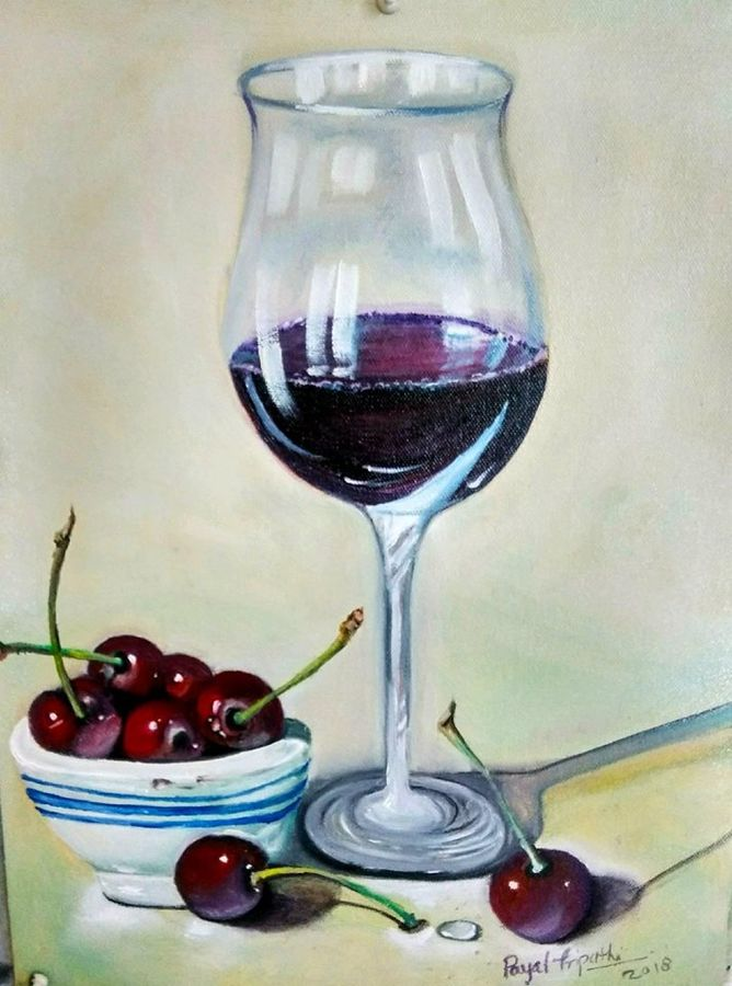 still life - wine glass, 15 x 18 inch, payal tripathi,paintings,still life paintings,paintings for dining room,paintings for living room,paintings for bedroom,paintings for office,paintings for bathroom,paintings for kids room,paintings for hotel,paintings for kitchen,paintings for school,paintings for hospital,canvas,oil,15x18inch,GAL0425516518