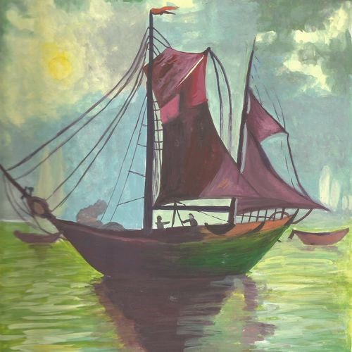 sailing through!, 9 x 11 inch, karthika gokulakrishnan,paintings,landscape paintings,nature paintings,paintings for dining room,paintings for living room,paintings for bedroom,paintings for office,paintings for hotel,thick paper,poster color,9x11inch,GAL0729616526Nature,environment,Beauty,scenery,greenery