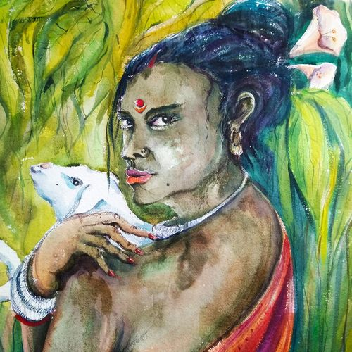 tribal woman, 29 x 21 inch, tuhin rakshit,paintings,portrait paintings,handmade paper,watercolor,29x21inch,GAL0375816530