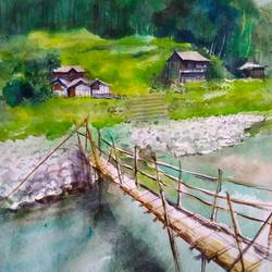 bamboo bridge , 21 x 14 inch, tuhin rakshit,paintings,landscape paintings,paintings for living room,paintings for office,paintings for kids room,paintings for hotel,paintings for school,handmade paper,watercolor,21x14inch,GAL0375816531