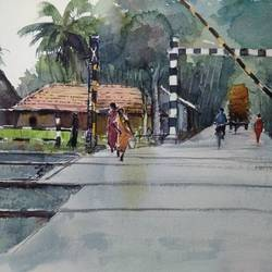 level crossing gate of railways , 21 x 14 inch, tuhin rakshit,paintings,landscape paintings,realistic paintings,paintings for dining room,paintings for living room,paintings for office,paintings for kids room,paintings for hotel,paintings for school,paintings for hospital,handmade paper,watercolor,21x14inch,GAL0375816536