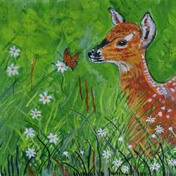 the  deer and the butterfly, 16 x 12 inch, abhik mahanti,paintings,wildlife paintings,canvas,acrylic color,16x12inch,GAL0404416543