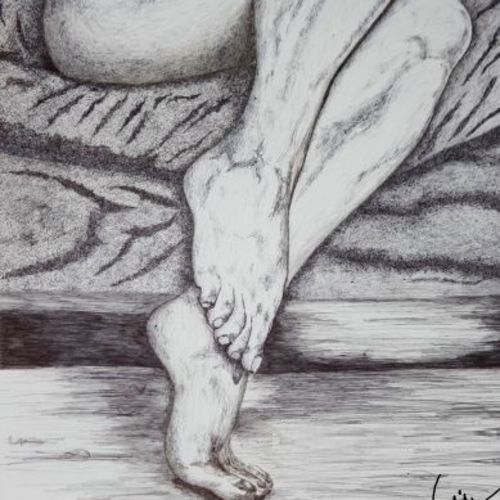 desire 07, 11 x 14 inch, biju puthiyapurail,figurative paintings,paintings for living room,figurative drawings,drawings,fine art drawings,paintings for bathroom,paintings for hotel,ivory sheet,ball point pen,11x14inch,GAL04741655
