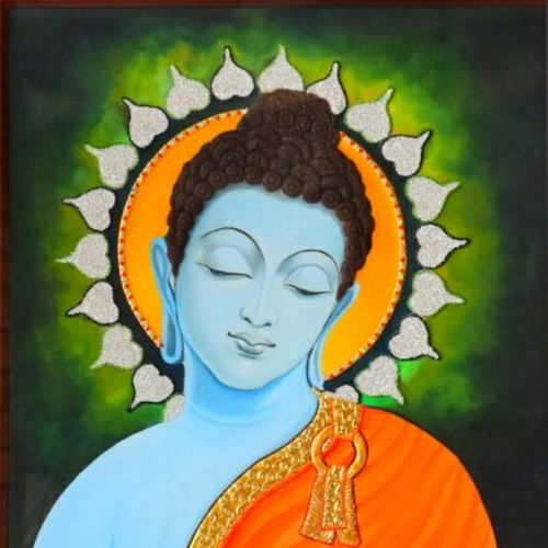 budhha in dhyan mudra, 22 x 24 inch, varuna sarswat,religious paintings,paintings for dining room,paintings for living room,paintings for office,paintings for kids room,hardboard,oil,22x24inch,GAL0733316550