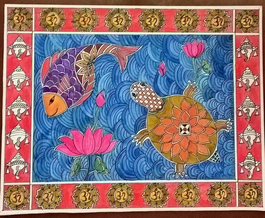 madhubani painting tortoise and a fish, 12 x 9 inch, veena amarnath,madhubani paintings,paintings for dining room,paintings for living room,paintings for office,paintings for kids room,paintings for hotel,paintings for school,paintings for hospital,paintings for dining room,paintings for living room,paintings for office,paintings for kids room,paintings for hotel,paintings for school,paintings for hospital,thick paper,ink color,12x9inch,GAL0572616570