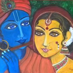 krishna and radha, 24 x 18 inch, veena amarnath,paintings,radha krishna paintings,paintings for dining room,paintings for living room,paintings for bedroom,paintings for dining room,paintings for living room,paintings for bedroom,canvas,oil,24x18inch,GAL0572616572,radhakrishna,love,pece,lordkrishna,,lordradha,peace,flute,music,radha,krishna,devotion,couple