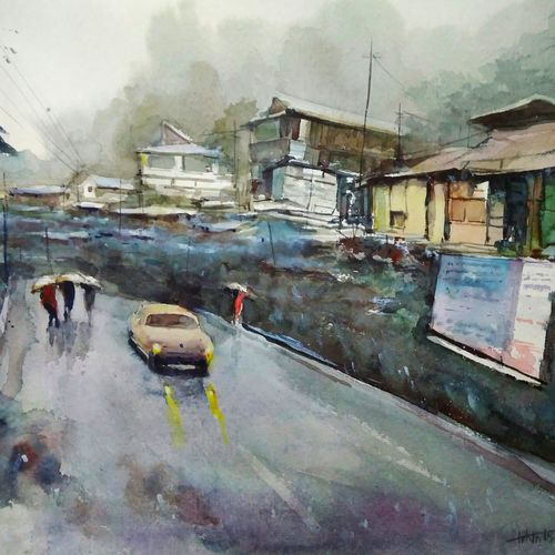 rainy morning , 21 x 14 inch, tuhin rakshit,paintings,cityscape paintings,nature paintings,realistic paintings,paintings for dining room,paintings for living room,paintings for bedroom,paintings for office,paintings for kids room,paintings for hotel,paintings for kitchen,paintings for school,handmade paper,watercolor,21x14inch,GAL0375816575Nature,environment,Beauty,scenery,greenery