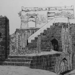 janjira fort, 14 x 11 inch, biju puthiyapurail,paintings for living room,illustration drawings,drawings,fine art drawings,impressionist drawings,paintings for office,paintings for hotel,paintings for school,ivory sheet,ball point pen,14x11inch,GAL04741658