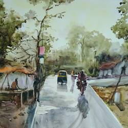 good morning , 20 x 14 inch, tuhin rakshit,paintings,cityscape paintings,realistic paintings,paintings for dining room,paintings for living room,paintings for office,paintings for hotel,paintings for kitchen,paintings for school,paintings for hospital,handmade paper,watercolor,20x14inch,GAL0375816583
