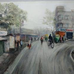 foggy morning , 21 x 14 inch, tuhin rakshit,paintings,cityscape paintings,landscape paintings,nature paintings,realism paintings,realistic paintings,paintings for dining room,paintings for living room,paintings for bedroom,paintings for office,paintings for kids room,paintings for hotel,paintings for school,paintings for hospital,handmade paper,watercolor,21x14inch,GAL0375816589Nature,environment,Beauty,scenery,greenery