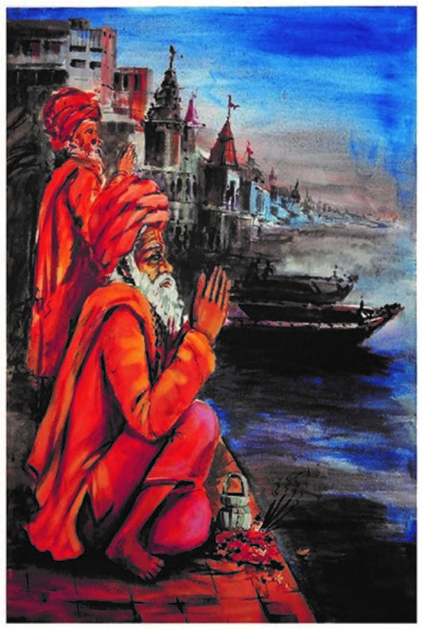 sadhu on the ghats, 24 x 30 inch, ra foundation mumbai,figurative paintings,religious paintings,art deco paintings,street art,paintings for dining room,paintings for living room,paintings for office,paintings for hotel,canvas board,acrylic color,24x30inch,GAL0612616592