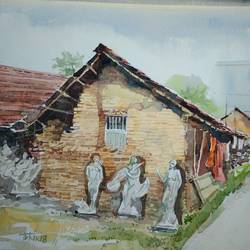 village huts of god maker , 21 x 14 inch, tuhin rakshit,landscape paintings,conceptual paintings,religious paintings,nature paintings,realism paintings,realistic paintings,paintings for dining room,paintings for living room,paintings for office,paintings for kids room,paintings for hotel,paintings for kitchen,paintings for school,paintings for hospital,handmade paper,watercolor,21x14inch,GAL0375816593Nature,environment,Beauty,scenery,greenery