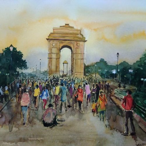 india gate , 21 x 14 inch, tuhin rakshit,paintings,cityscape paintings,realism paintings,street art,realistic paintings,paintings for dining room,paintings for living room,paintings for office,paintings for kids room,paintings for hotel,paintings for kitchen,paintings for school,paintings for hospital,handmade paper,watercolor,21x14inch,GAL0375816597