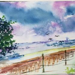 mandermoni ii, 11 x 8 inch, dipankar  biswas,paintings,nature paintings,paintings for living room,arches paper,watercolor,11x8inch,GAL0293216598Nature,environment,Beauty,scenery,greenery