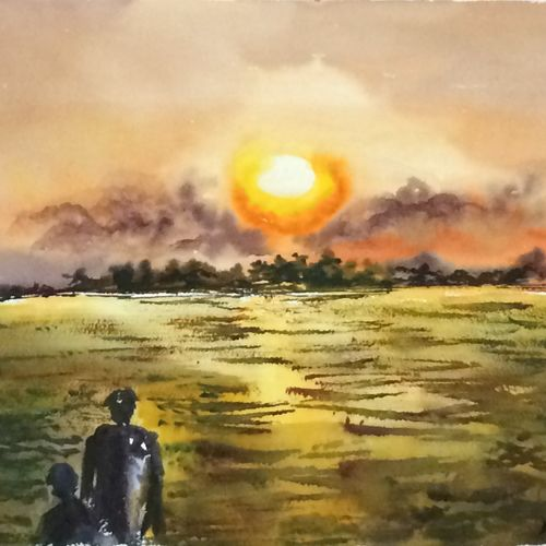 sunset in sunderbans, 21 x 14 inch, dipankar  biswas,paintings,nature paintings,paintings for living room,handmade paper,watercolor,21x14inch,GAL0293216599Nature,environment,Beauty,scenery,greenery