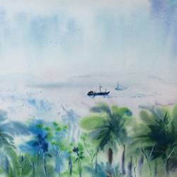 distant sea- andaman, 22 x 15 inch, dipankar  biswas,paintings,nature paintings,paintings for living room,handmade paper,watercolor,22x15inch,GAL0293216600Nature,environment,Beauty,scenery,greenery