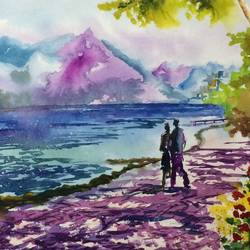 bliss, 21 x 14 inch, dipankar  biswas,paintings,nature paintings,paintings for living room,handmade paper,watercolor,21x14inch,GAL0293216602Nature,environment,Beauty,scenery,greenery